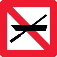 Panneau fluvial interdiction bateaux non motorisés A16