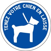 Panneau de signalisation tenez votre chien en laisse