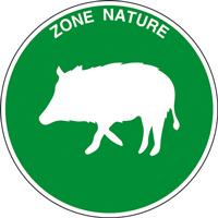 Panneau rond zone nature sanglier