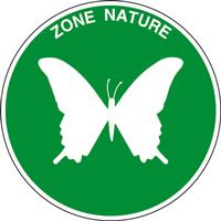 Panneau rond zone nature papillon