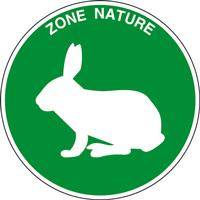 Panneau rond zone nature lapin