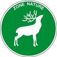 Panneau rond zone nature cerf