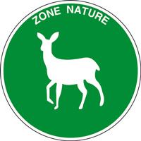 Panneau rond zone nature biche