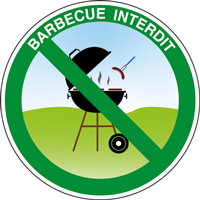 Panneau rond barbecue interdit