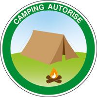 Panneau rond camping autorisé