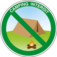 Panneau rond camping interdit