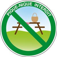 Panneau rond pique-nique interdit