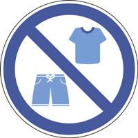 Panneau tee-shirt et short interdits