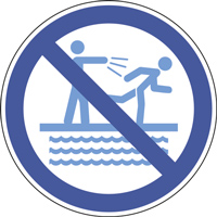 Panneau interdiction de pousser près du bassin