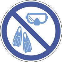 Panneau masque et palmes interdits