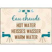 Panneau camping eau chaude