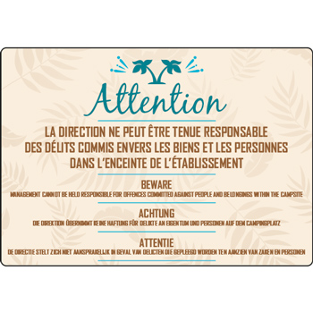 Panneau camping attention