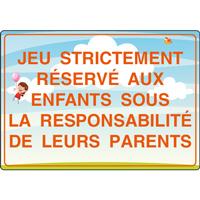 Panneau jeu strictement réservé aux enfants