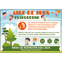 Panneau aire de jeux surveillance français/anglais