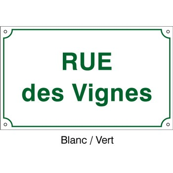 Plaque de rue 450 x 250 aluminium listel simple