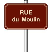 Panneau de rue émail 450 x 250 - 2 listels - arrondi