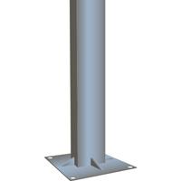 Poteau en acier galvanisé sur platine soudée