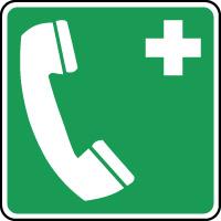 Panneau de premiers secours téléphone d'urgence