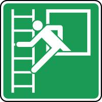 Panneau d'évacuation fenêtre de secours avec échelle