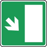 Panneau d'évacuation issue secours flèche bas droite