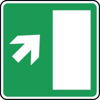 Panneau d'évacuation issue secours flèche haut droite