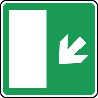 Panneau d'évacuation issue secours flèche bas gauche