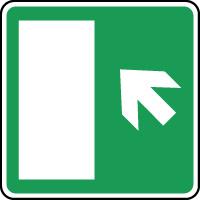 Panneau d'évacuation issue secours flèche haut gauche