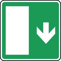 Panneau d'évacuation issue secours flèche en bas