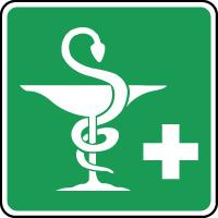 Panneau de premiers secours caducée pharmacie