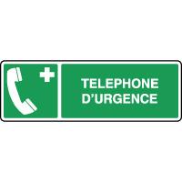 Panneau de premiers secours horizontal téléphone d'urgence