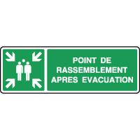 Panneau horizontal point de rassemblement évacuation