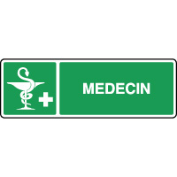 Panneau de premiers secours horizontal caducée médecin