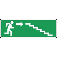 Panneau d'évacuation, homme descend l'escalier à droite