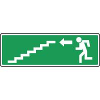 Panneau d'évacuation, escalier en bas à gauche