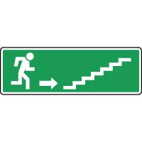 Panneau d'évacuation, escalier en haut à droite
