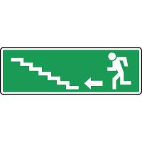 Panneau d'évacuation, escalier en haut à gauche