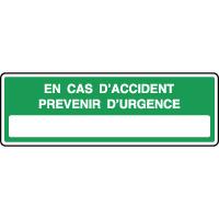 Panneau secours horizontal cas d'accident prévenir urgence