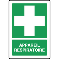 Panneau de premiers secours vertical appareil respiratoire