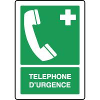 Panneau de premiers secours vertical téléphone d'urgence