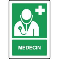 Panneau de premiers secours vertical médecin