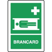 Panneau de premiers secours vertical brancard
