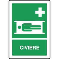 Panneau de premiers secours vertical civière