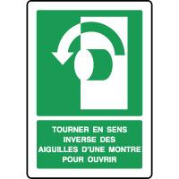 Panneau d'évacuation vertical tourner sens inverse ouvrir