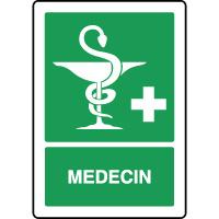 Panneau de premiers secours vertical caducée médecin