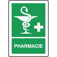 Panneau de premiers secours vertical caducée pharmacie