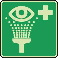 Panneau photoluminescent équipement de rincage des yeux