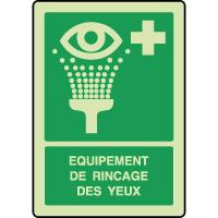 Panneau photoluminescent vertical équipement rincage yeux