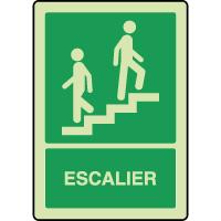 Panneau photoluminescent vertical escalier