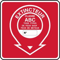 Panneau de sécurité incendie extincteur classe ABC