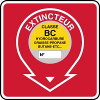 Panneau de sécurité incendie extincteur classe BC
